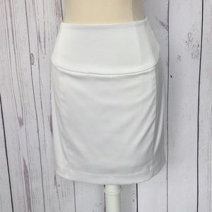 White Pencil Skirt Sz 2 Satin EXPRESS Gold Trim